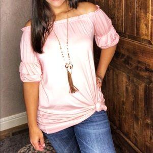 LAST 1 New Pink Ruffle Sleeve Tunic Top SO soft